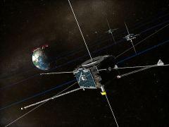 """לוויני THEMIS החוקרים את השדה המגנטי של כדור הארץ. איור: נאס""""א"""
