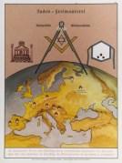 פוסטר גרמני משנת 1935 המציג קונספירציה של היהודים עם הבונים החופשיים למטרת שליטה בעולם