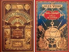 עטיפות שניים מספריו המקוריים של ז'ול ורן, סופר בן המאה ה-19