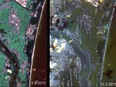 """לפני ואחרי הצונאמי במזרח יפן שהתרחש ב-11 במארס 2011. צילום: נאס""""א"""
