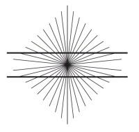 תעתועי הרינג - אנו יודעים שהקווים מקבילים אך הם נראים לנו כמו קשתות. Edwald Herring, 1861.