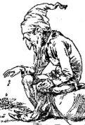 השדון האירי המיתולוגי Leprechaun בציור מראשית המאה ה-20. מתוך ויקיפדיה