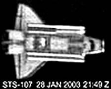 צילום בטלסקופ של המעבורת קולומביה בטיסתה האחרונה