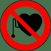 שלט האוסר כניסה לבעלי קוצב לב