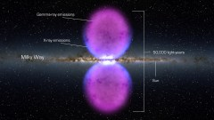 """הקצה: בועות פרמי - תפיסת אמן של בועות פרמי ענקיות המופיעות מתוך ליבה של גלקסית שביל החלב. איור: נאס""""א"""