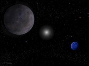 הדמית אמן של מערכת כוכבי הלכת המקיפים את HD 10180. אחד מסופר כדורי הארץ החדשים HD 10180j נראה ברקע בצד שמאל של התמונה), כאשר כוכב הלכת דמוי נפטון-רהב HD 10180e נמצא ברקע בצידה הימני של התמונה - בעל האטמוספירה המעוננת הכחולה. הכוכב המרכזי ושאר שבעת כוכבי הלכת שהיו מוכרים משנת 2010, נמצאים במרחק, לרבות סופר כדור הארץ השני - HD 10180i, השלישי במרחקו מהשמש. איור: אוניברסיטת הרטפורדשייר.