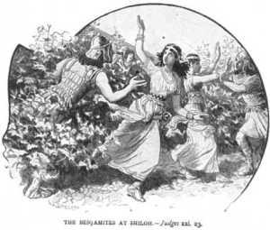 """שופטים כ""""א פסוק 23, בני בנימין בוחרים בנות מחוללות בשילו"""