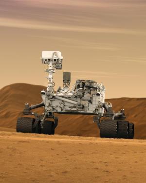 """רכב השטח קיוריוסיטי על אדמת מאדים. איור: נאס""""א"""