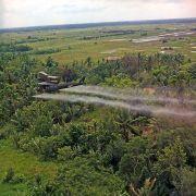 מסוק UH-1D מרסס חומר מנשיר המכיל את הרעל אייג'נט אורנג' על אדמה חקלאית בדלתה של המקונג בעת מלחמת ויאטנם. מתוך ויקיפדיה