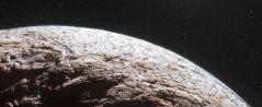 התרשמות אמן מפני השטח של מאקי-מאקי, כוכב לכת ננסי שמסלולו רחוק מזה של פלוטו. (ESO/L. Calçada/Nick Risinger)