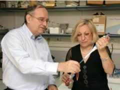 """פרופ' פרץ לביא וד""""ר לינה לביא במעבדה לחקר השינה בטכניון. צילום: מתוך אתר אגודת ידידי הטכניון בארה""""ב"""