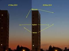 התקבצות נגה, כוכב חמה וצדק, 27 במאי 2013. צילום: אמיר ברנט, מרכז אילן רמון לנוער שוחר פיזיקה. בבאר שבע
