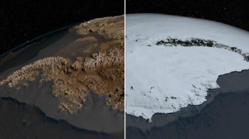 """מימין - אנטארקטיקה כפי שהיא נראית בפועל - מכוסה בקרח. משמאל - מפה ששרטטו בסקר הבריטי של אנטארקטיקה בסיוע נתוני נאס""""א של תוואי השטח שמתחת לקרח. צילום: הסקר הבריטי של אנטארקטיקה"""