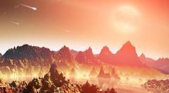 """כוכב לכת צעיר היפותטי המקיף שמש שכבר התקררה וסובל מהפגזה בלתי פוסקת של חומרים מהחלל - איור של נאס""""א"""