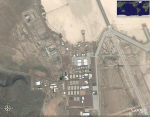 איזור 51 כפי שהוא נראה בתמונת לוויין באתר Google Earth