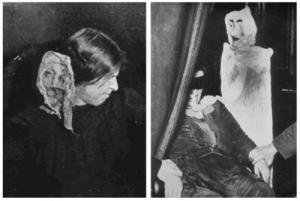אביזרים שמדיומים השתמשו בהם: בדים, בובות, מסכות, וכד' (ויקיפדיה)