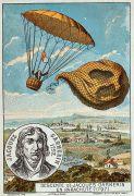 גלויה המתארת את הצניחה הראשונה בהסטוריה - של אנדריי-ז'ק גרנרין ב-22 באוקטובר 1797. מתוך ויקיפדיה