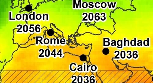 הגדלת איזור הים התיכון במפת התחזית להשפעת ההתחממות.