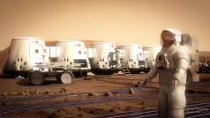 אסטרונאוט במושבה המאוישת העתידית הראשונה במאדים. ציור אמן: חברת Mars One