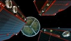 שלוש חלליות SWARM נפרדות מהשלב השלישי של הטיל שנשא אותן. איור: סוכנות החלל האירופית.