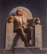 אייזיק אסימוב על כסא מלכות המלא ברמזים על יצירותיו. מתוך ויקיפדיה. רשיון GNU (קישור לתמונה)