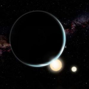 איור אמן של קפלר 34b המקיף שני כוכבים.(David A. Aguilar (CfA)