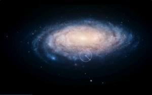 הקטע בעיגול מתאר את החלק של היקום שהיינו אמורים לראות אם הוא היה רק בן 6,500 שנה - המרחק בין מערכת השמש לערפילית הסרטן. צילום מסך מהסדרה קוסמוס, של רשת פוקס ונשיונל גיאוגרפיק