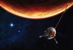 """החללית פיוניר 11 על רקע כוכב הלכת צדק. איור: נאס""""א"""