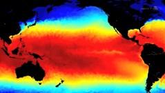 """תנאים מבשרי אל ניניו באוקיאנוס השקט. מתוך סרטון של נאס""""א"""