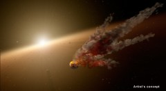 איור אמן זה מראה את מה שהתרחש מיד לאחר פגיעת אסטרואיד גדולה סביב NGC 2,547-ID8, כוכב דמוי שמש בן 35 מיליון שנה שמתחילים להיווצר בו כוכבי לכת סלעיים. איור: NASA / JPL-Caltech