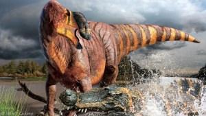 Rhinorex condrupus,  הדרוזאור שהתגלה לאחרונה ושוחזר בשנת 2014, היה בעל אף בולט. איור - ג'וליוס קסוטוני.