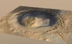 """הדמיה תלת ממדית של מכתש גייל במאדים כפי שהוא נראה מהחלל. צילום: נאס""""א/JPL"""