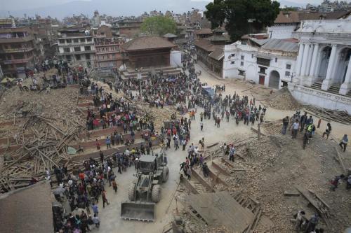 כיכר דורבאר בקטמנדו בירת נפאל בעקבות רעידת האדמה של ה-25 באפריל 2015. מתוך ויקיפדיה