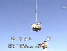 """שיגור """"הצלחת המעופפת"""", 8/6/15 - מערכת להאטת נחיתה של חלליות גדולות על מאדים. צילום מסך מתוך הטלוויזיה של נאס""""א"""