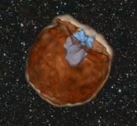 """תמונה מתוך סימולציה של סופרנובה מסוג Ia.בסימולציה, כוכב המתפוצץ בסופרנובה מסוג Ia (בצבע חום כהה). חומר מהסופרנובה נפלט החוצה במהירות של כ -10,000 קילומטרים לשניה. החומר פוגע בכוכב המלווה שלו (בצבע תכלת). התנגשות אלימה זו מייצרת פעימות תת סגולות המפלטות מחור"""" שנוצר על ידי הכוכב המלווה. איור: דן קאסן"""