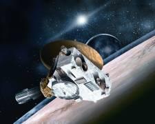 """החללית ניו הוריזונס על רקע כוכב הלכת פלוטו. איור: נאס""""א"""