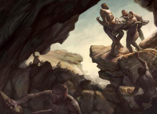 השלכת גופות לחדר מבודד במערה, כדי להגן עליהן מפני אוכלי נבלות היא ככל הנראה מנהג הקבורה הראשון. איור ART BY JON FOSTER. SOURCE: LEE BERGER, WITS