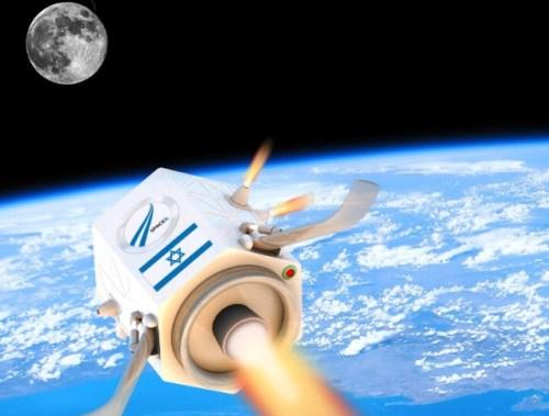 הדמיית הדגם הישן של החללית הישראלית בדרך לירח. באדיבות SpaceIL