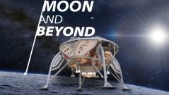 מובילים בתחרות. הדמיה של החללית הישראלית על הירח. איור באדיבות SpaceIL