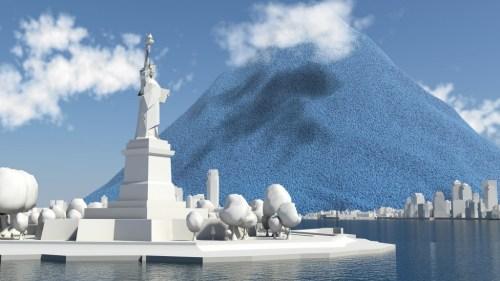 המחשה של כמות הפחמן הדו-חמצני שפלט האדם לאטמוסיפרה ב-2012, לצד פסל החירות. הדמייה: Carbon Visuals, flickr