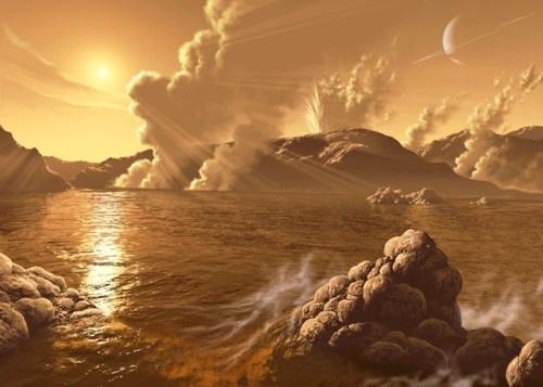 """נוף בטיטאן, ירחו של שבתאי. האם הוא מתאים לחיים? איור: נאס""""א וסוכנות החלל האירופית"""