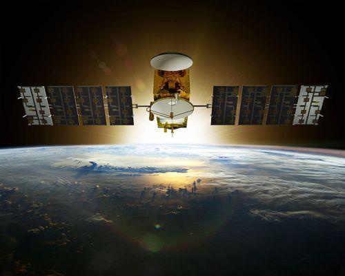 הדמייה של הלוויין ג'ייסון-3 במסלול סביב כדור הארץ. מקור: NOAA