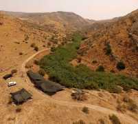 אתר החפירות NEG II בנחל עין-גב ממעוף הציפור (קרדיט: Austin (Chad) Hill/Leore Grosman)