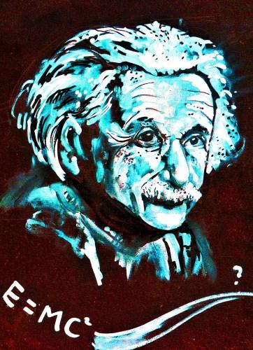 ציור גרפיטי של איינשטיין והנוסחה המפורסמת שלו. צילום: shutterstock
