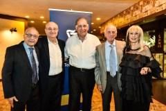– מימין לשמאל: פרומה יודעים, פרופ' ג'ון פינברג, ראש העיר חיפה יונה יהב, נשיא הטכניון פרופ' פרץ לביא ופרופ' מוסא יודעים