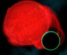 תיאור אמן של כוכב לכת בעל אטמוספירה המקיף ננס אדום.