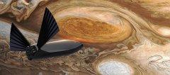 """הדמייה של """"מערכת התחבורה הבינפלנטרית"""" (ITS) על רקע הכתם האדום הגדול של צדק. לפי דברי מאסק, יכולת הנחיתה הממונעת של המערכת תוכל לאפשר לה להגיע אף לירחים המרוחקים של צדק, לכל מקום במערכת השמש. מקור: ספייס איקס."""
