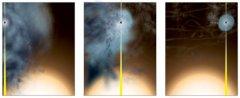 """הדמיית אמן איך נוצר החור השחור המאוד מסיבי """"הכמעט חשוף"""". קרדיט: ביל סקסטון, NRAO/AUI/NSF"""