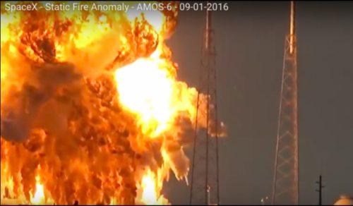 רקע התפוצצות המשגר פאלקון 9 של חברת ספייס אקס ועליו הלוויין עמוס 6 ב-1 בספטמבר 2016. צילום מסך USLaunchReport.com video