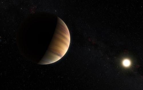 הדמייה של כוכב הלכת החוץ שמשי הראשון שהתגלה סביב כוכב מהסדרה הראשית בשנת 1995 - 51 Pegasi b. על  גילויו זכו השנה הפרופסורים מישל מאיור ודידייה קוולוז בפרס וולף לפיזיקה. מקור: ESO/M. Kornmesser/Nick Risinger.